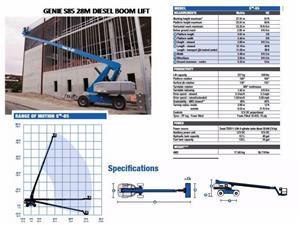 Cherry Picker - Genie S85 28M diesel boom lift for sale
