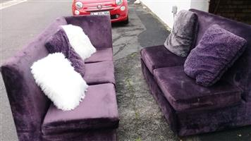 Couch purple for 5 (3 +2)