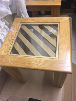 SOLID OAK & GLASS SET- FOUR ITEMS- EACH INDIVIDUALLY PRICE - TOP QUALITY