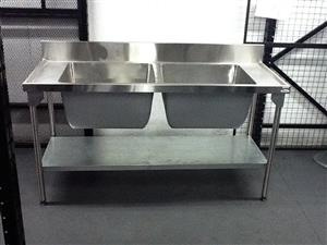 DOUBLE POT SINKS-(REMOVABLE M/S LEGS) 1.2mm (430)-FORGED POTS