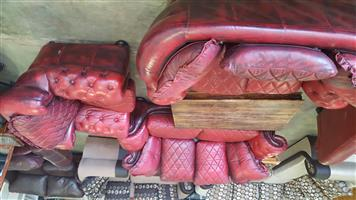 Rubelli Red genuine leather italian lounge suite