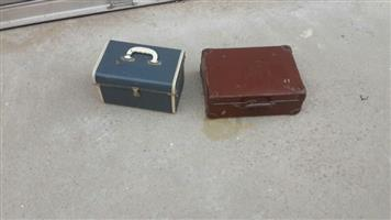 Two vanity cases with keys and basket nice decor items