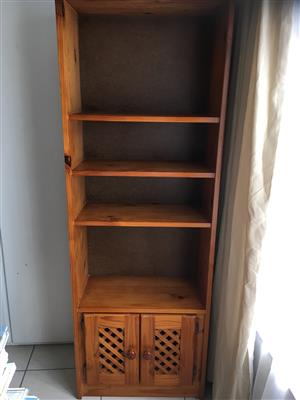 Solid Pine Bookcase Stained with lattice doors