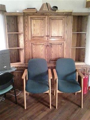 Furniture for sale. Oak corner cabinet.Glass door cabinet.