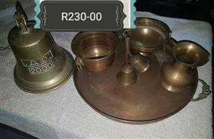 Brass jug and clock set