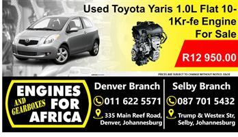 Used Toyota Yaris 1.0L Flat 10- 1Kr-fe Engine For Sale