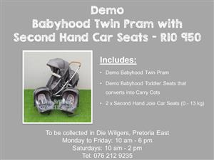 Demo Babyhood Twin Pram with Second Hand Car Seats