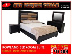 5 PIECE BEDROOM SUITE BRAND NEW ROWLAND FOR ONLY R 17 499!!!!!!!