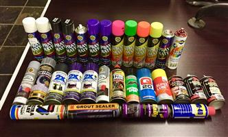 Various Spray Cans Tins Paint Lubricant Sealer Q20 Lube WD-40 Aerosol Canisters Spray Mate Tin Can UV Ultra Violet Glow in The Dark