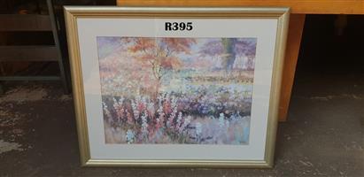 Framed Horning Flower Picture (820x760)