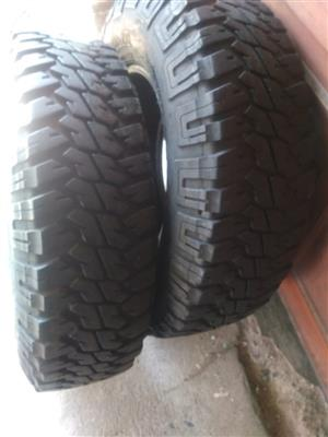Two 7.51mm tread 235/85/16 Goodyear MT/R tyres fits Defender R2900 for both tyres thus R1450 each