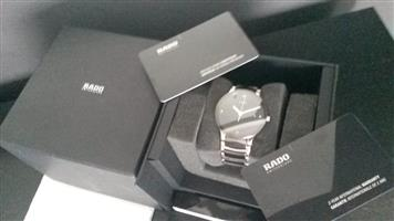 RADO CENTRIX WITH DIAMONDS,BLACK AND SILVER with full black face