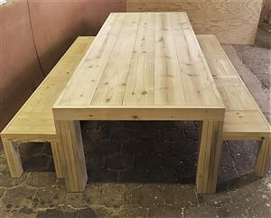 Patio table Chunky Farmhouse series 3000 with pillar legs (Combo) Raw