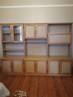 Oak finish wall unit.