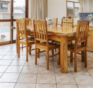 Yellow wood Table, chairs and buffet