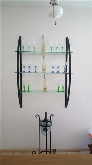 Mirror, glass side table and wall unit for sale!!
