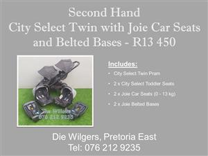Second Hand City Select Twin with Joie Car Seats and Belted Bases