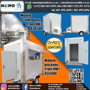 Mobile Coldrooms-fixed coldrooms- fridges - Mobile Kitchens- Mobile toilets-portable toilets- Mobile Bar- Tents -catering equipment