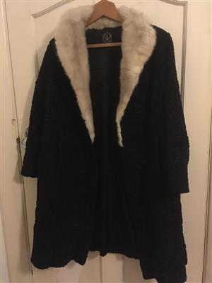 Karakul Ladies Fur Coat Black