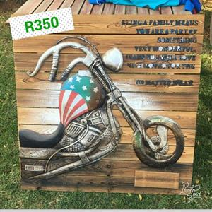 Wooden biker wall art for sale
