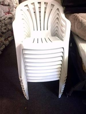 10 White out door plastic chairs