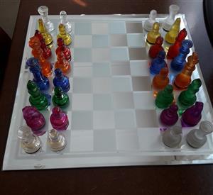 Color Glass Chess Set 35x35cm