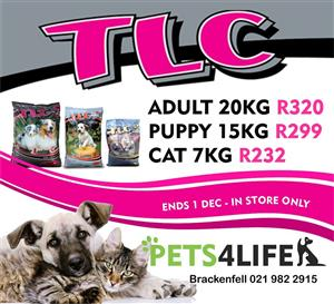 TLC Premium Cat and Dog food now on promotion at PETS4LIFE BRACKENFELL