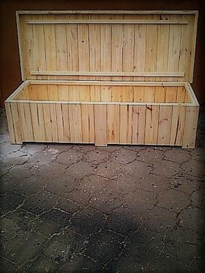 Patio bench with storage Farmhouse series 1800 Extra width Varnished