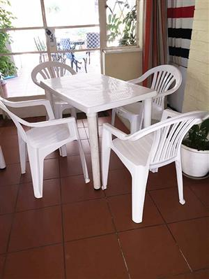 Patio table with 4 chairs - plastic