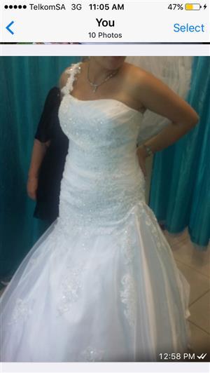 Imported White; elegant; 1 shoulder Wedding Dress - Size can be altered