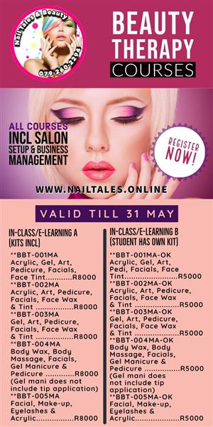 Beauty Therapy Courses at Nail Tales & Beauty, valid till the 31st of May 2020