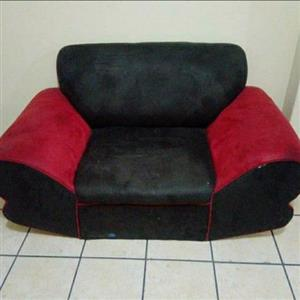 3 piece lounge suite black and red