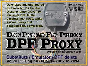 Diesel Particulate Filter DPF Proxy Emulator Substitute DPF delete Volvo D5 Engine XC90 2002 to 2014
