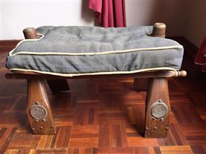 Oak camel footstool