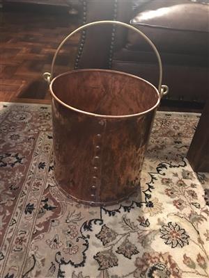 Vintage solid copper bucket