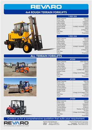 Forklifts All terrain Rough terrain and Standard