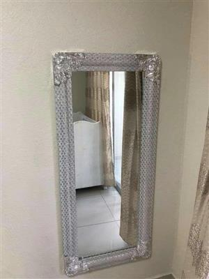 Thick silver sequence framed mirror for sale