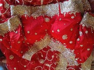 Red Saree with Gold beaded work