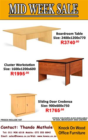 Mid Week Sale! Stock colors available in Oak, Mahogany and Cherry.