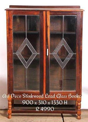 Art deco stinkwood lead glass bookcase for sale