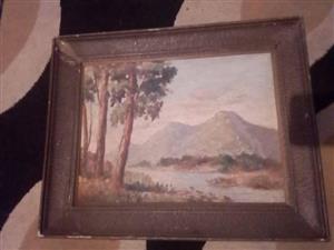 Framed mountain scene painting for sale