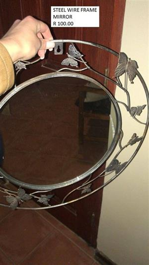 Steel wire frame mirror for sale