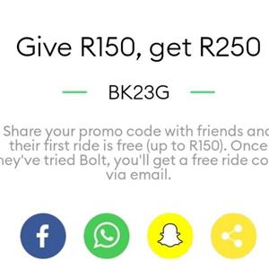 Taxify promo code worty R150: BK23G