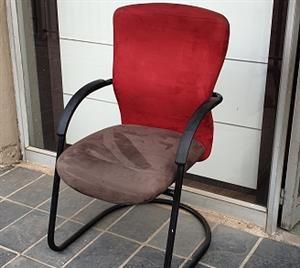 Pre-owned Visitors chair with brown suede seat/red back