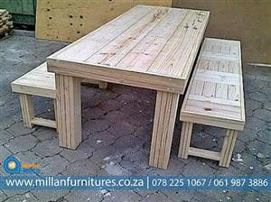 CHAMPIONS WOODEN DINNING TABLES AND BENCHES