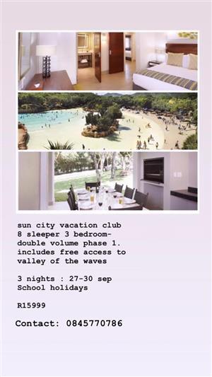 Sun City Vacation Club September School Holidays