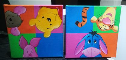 Unisex Winnie The Pooh Hand Painted Canvas Set
