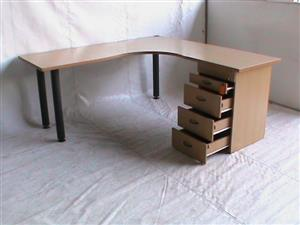 Beech wood l shape desk plus pedetal