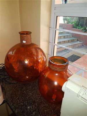 Large orange flower vases