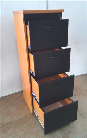 Oak/Black 4 drawer filling cabinet